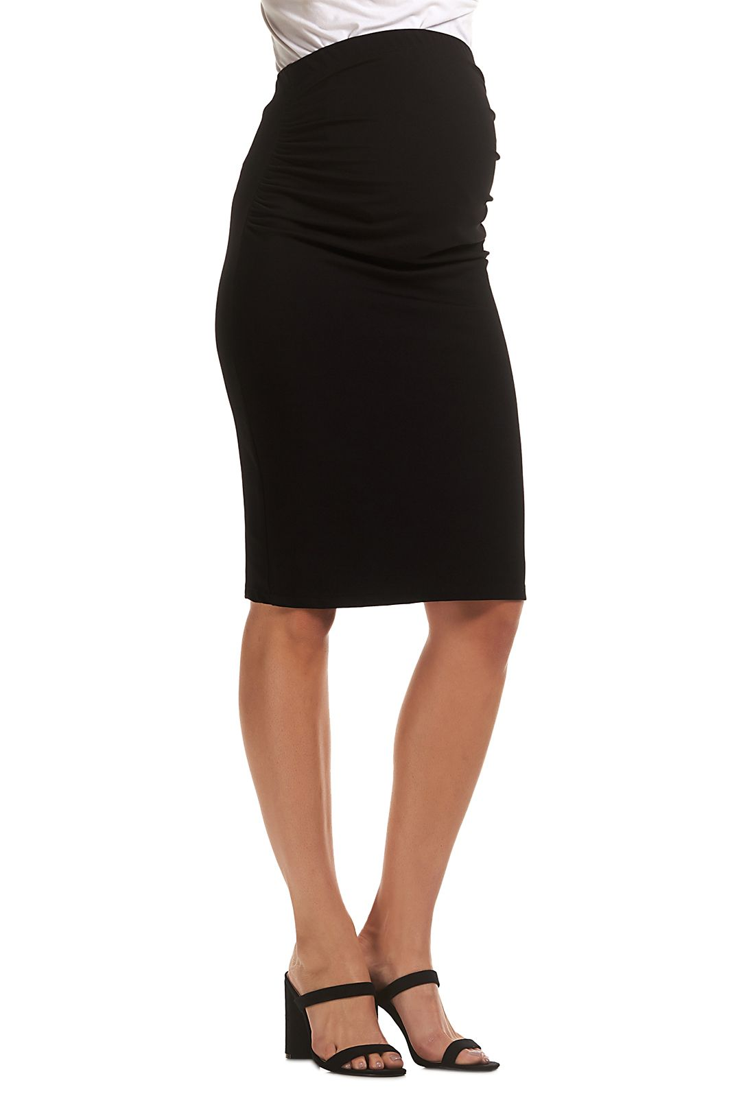 Soon-Maternity-Midi-Work-Skirt-Black-Side