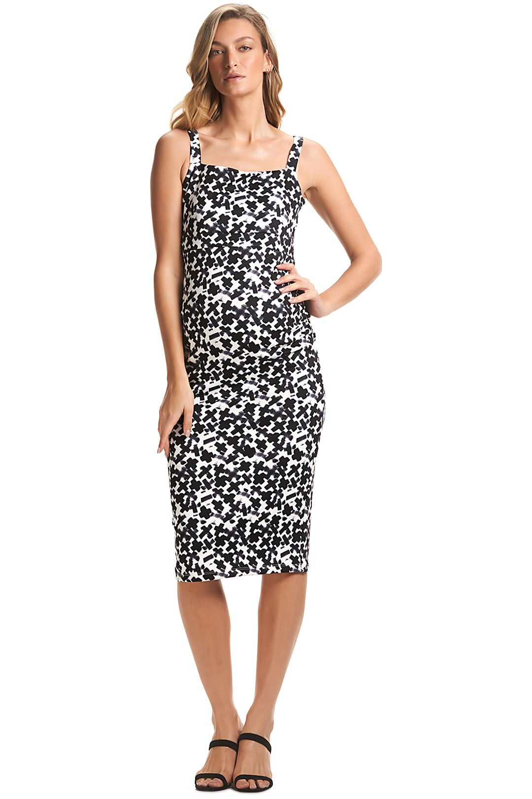 Soon-Maternity-Rosie-Dress-Black-White-Front