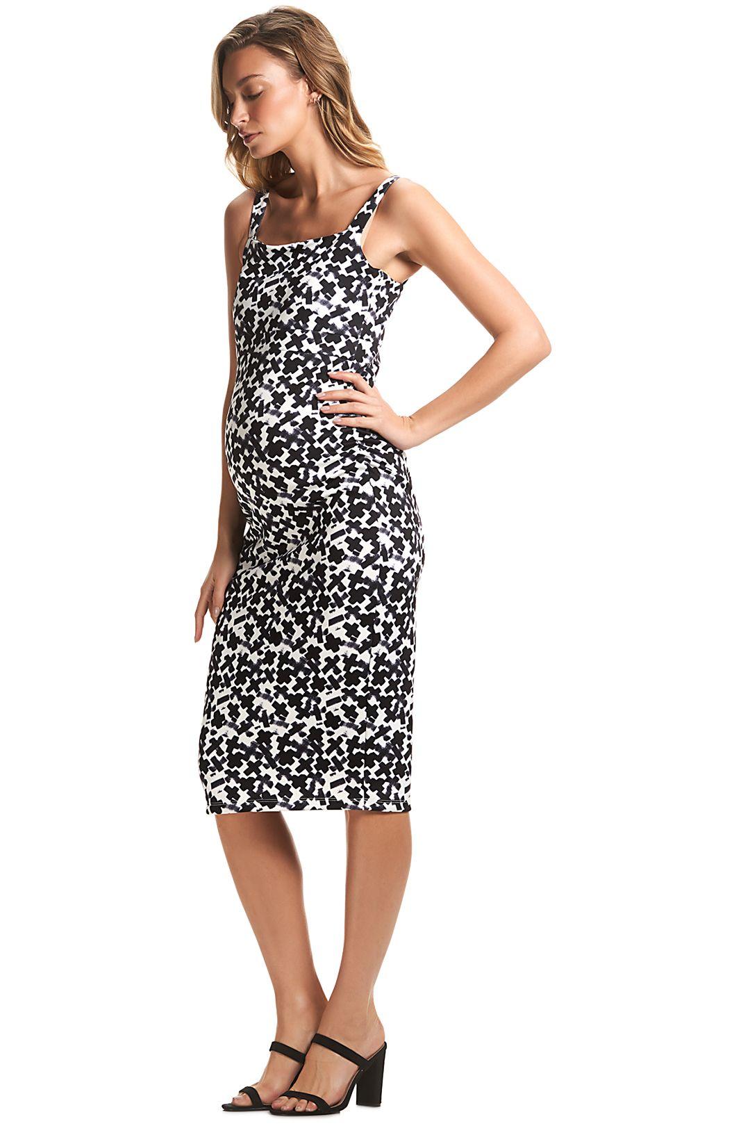 Soon-Maternity-Rosie-Dress-Black-White-Side