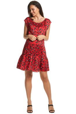 Soon-Maternity-Sydney-Dress-Red-Leopard-Front