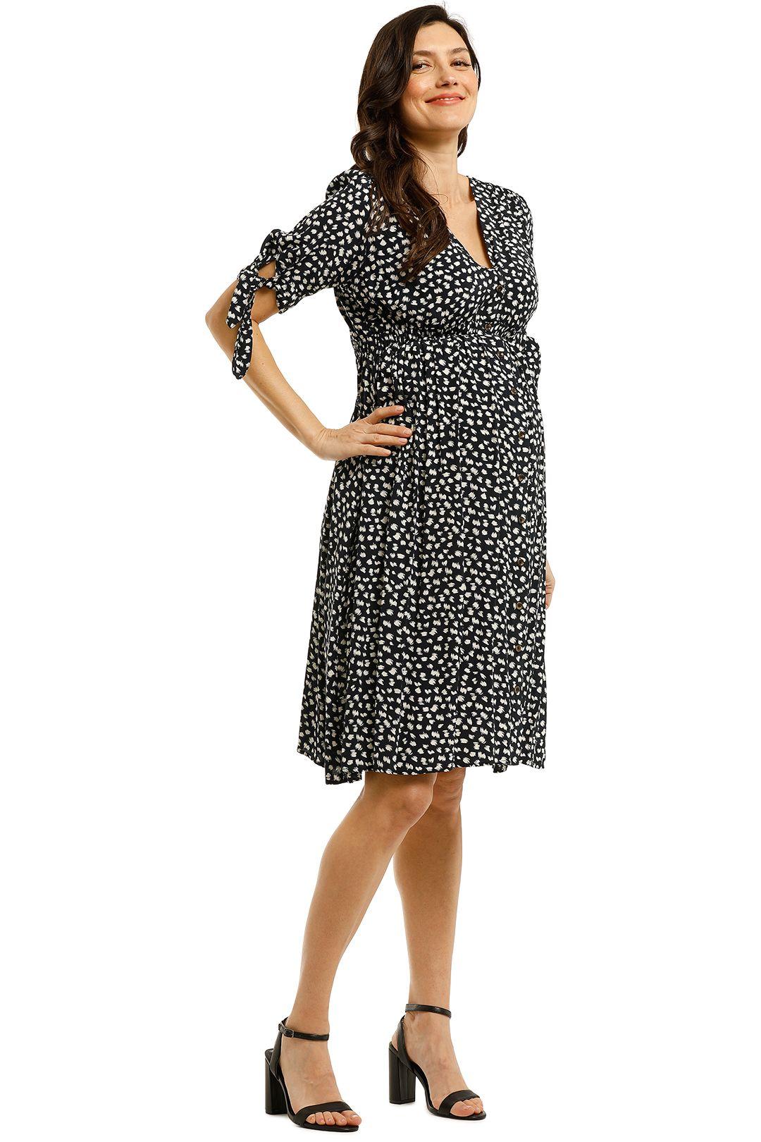 Soon-Maternity-Zippi-Dress-Navy-Speck-Front