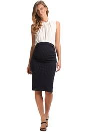 Soon-Midi-Work-Skirt-Navy-Pinstripe-Front