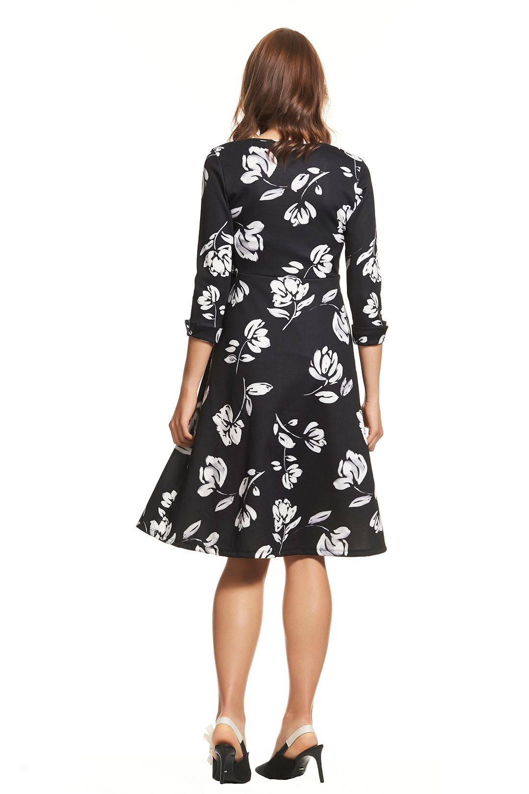 Soon Maternity-Meghan-Swing-Dress-Black-Floral-Back