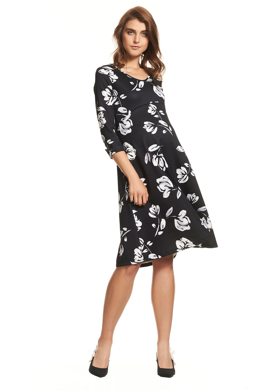 Soon Maternity-Meghan-Swing-Dress-Black-Floral-Front