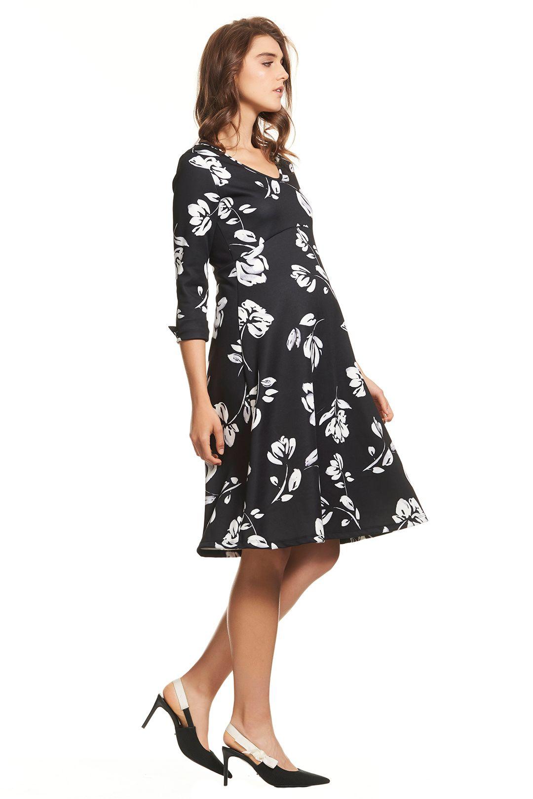 Soon Maternity-Meghan-Swing-Dress-Black-Floral-Side