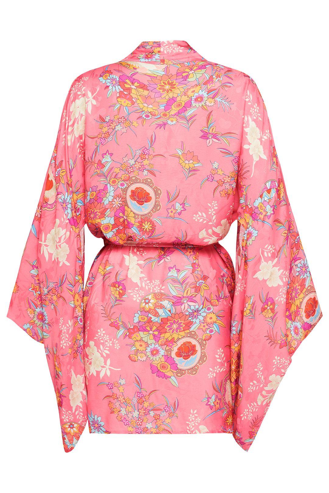 Spell Leo Short Robe Pink Floral Satin