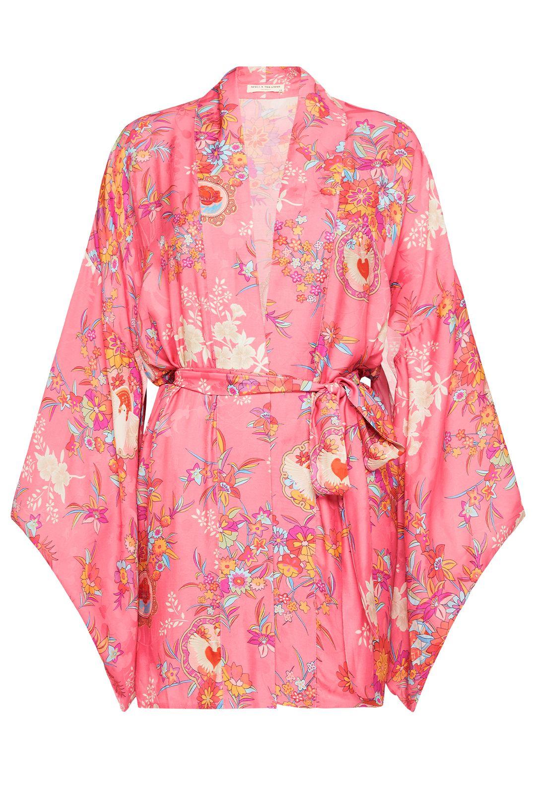Spell Leo Short Robe Pink Kimono