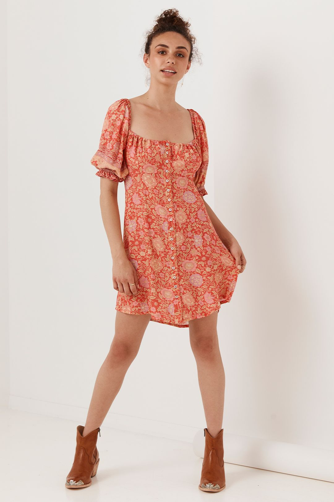 Spell Love Story Mini Dress Red Coral Floral Straight Neckline
