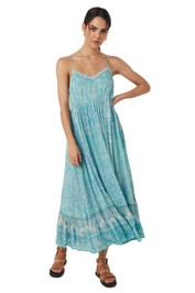 Spell Mystic Strappy Maxi Dress Turquoise