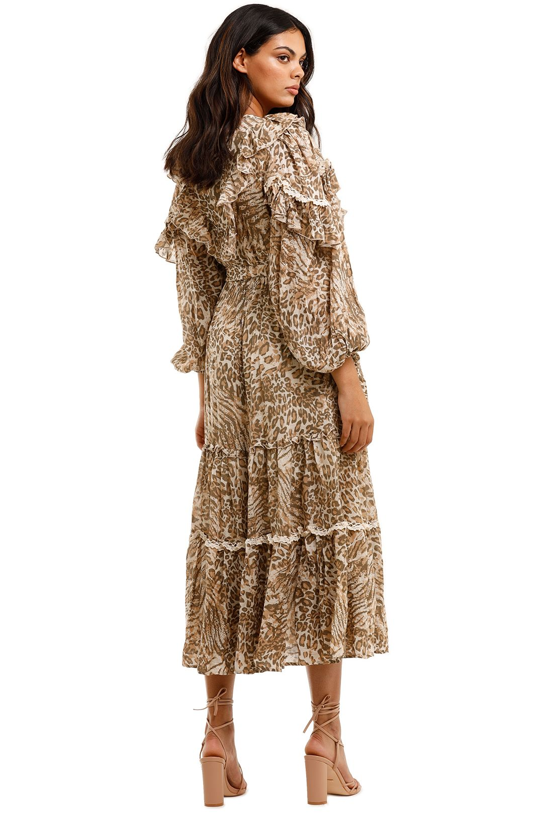 Spell Ada Gown Leopard Long Sleeve