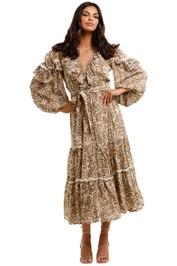 Spell Ada Gown Leopard Boho V Neck