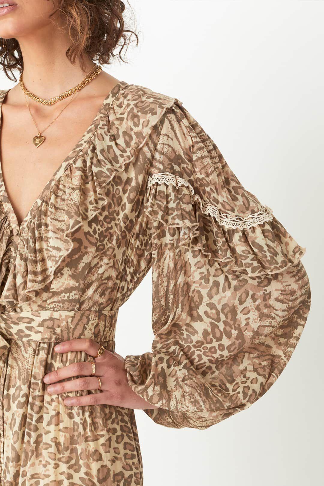Spell Ada Gown Leopard Maxi Dress V-Neckline