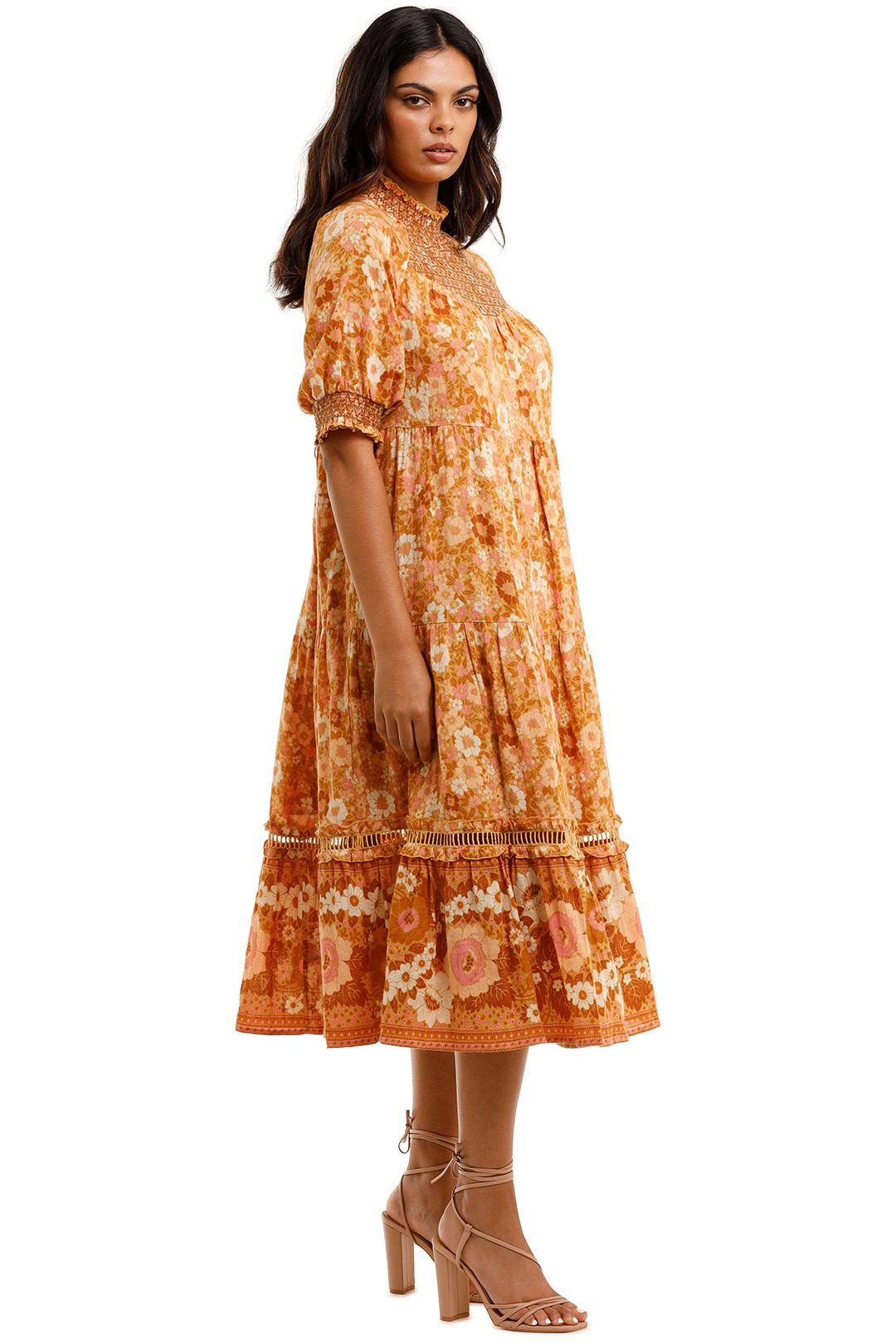 Spell Anne Midi Gown Peach High Neck
