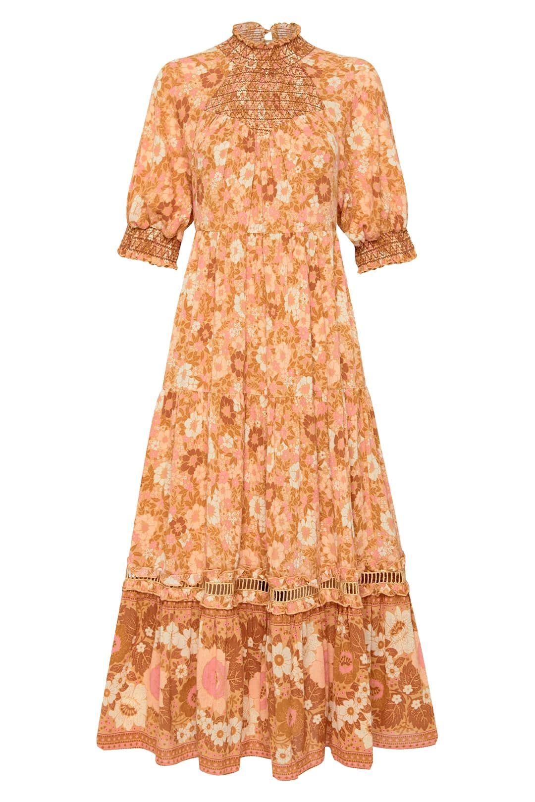 Spell Anne Midi Gown Peach Midi Length