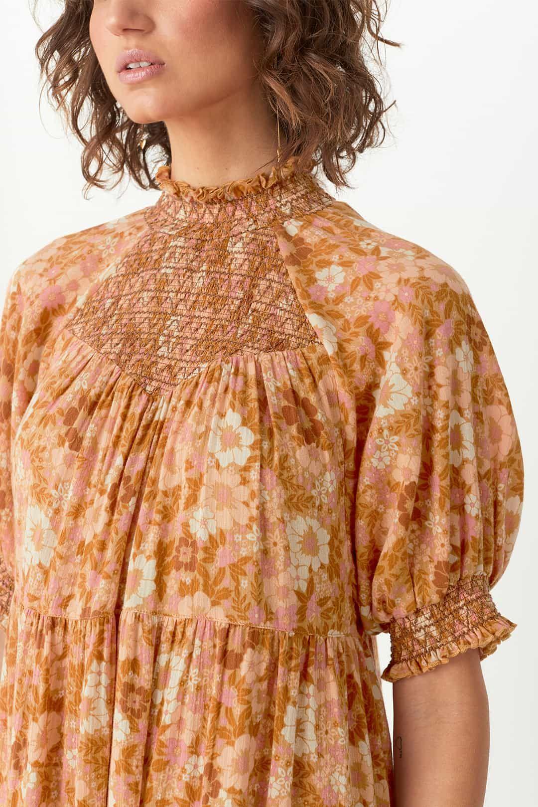 Spell Anne Midi Gown Peach Shirred