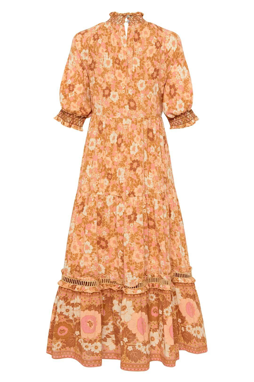 Spell Anne Midi Gown Peach Short Sleeve
