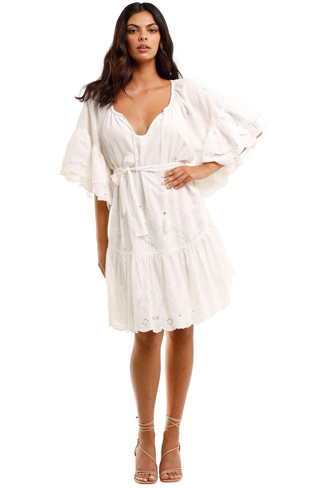 Spell Capulet Broderie Anglaise Frill Smock Dress White