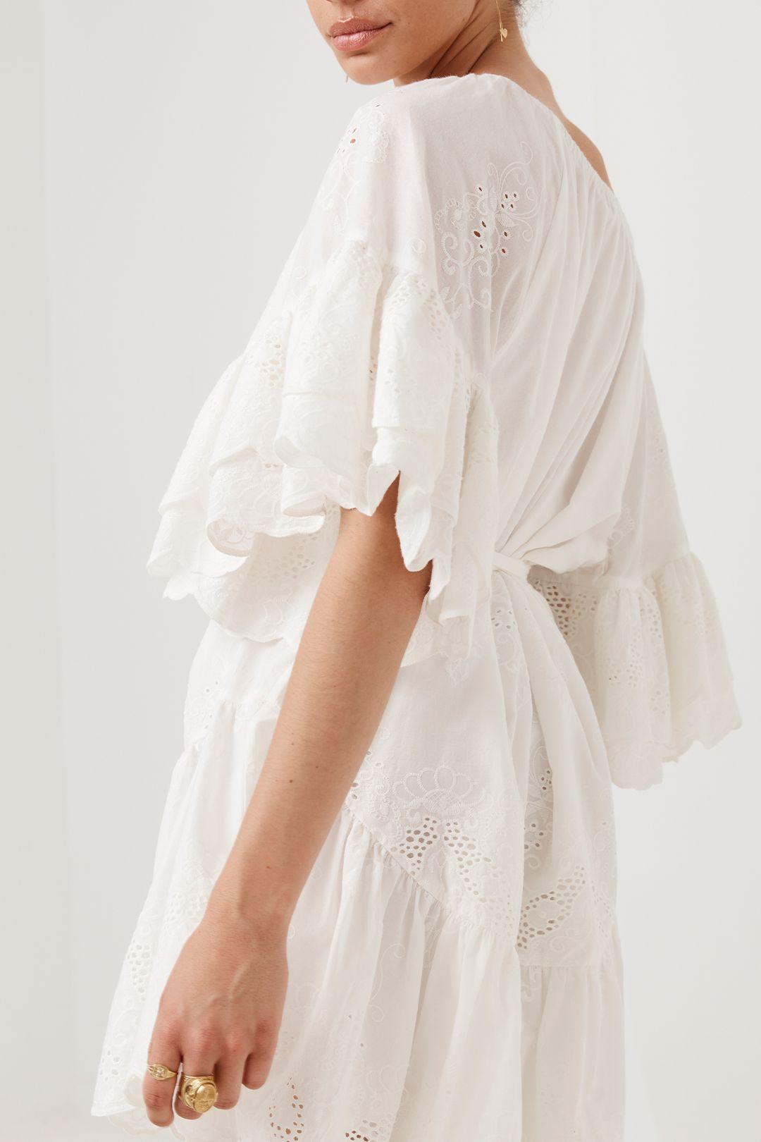 Spell Capulet Broderie Anglaise Frill Smock Dress White Flare Sleeve