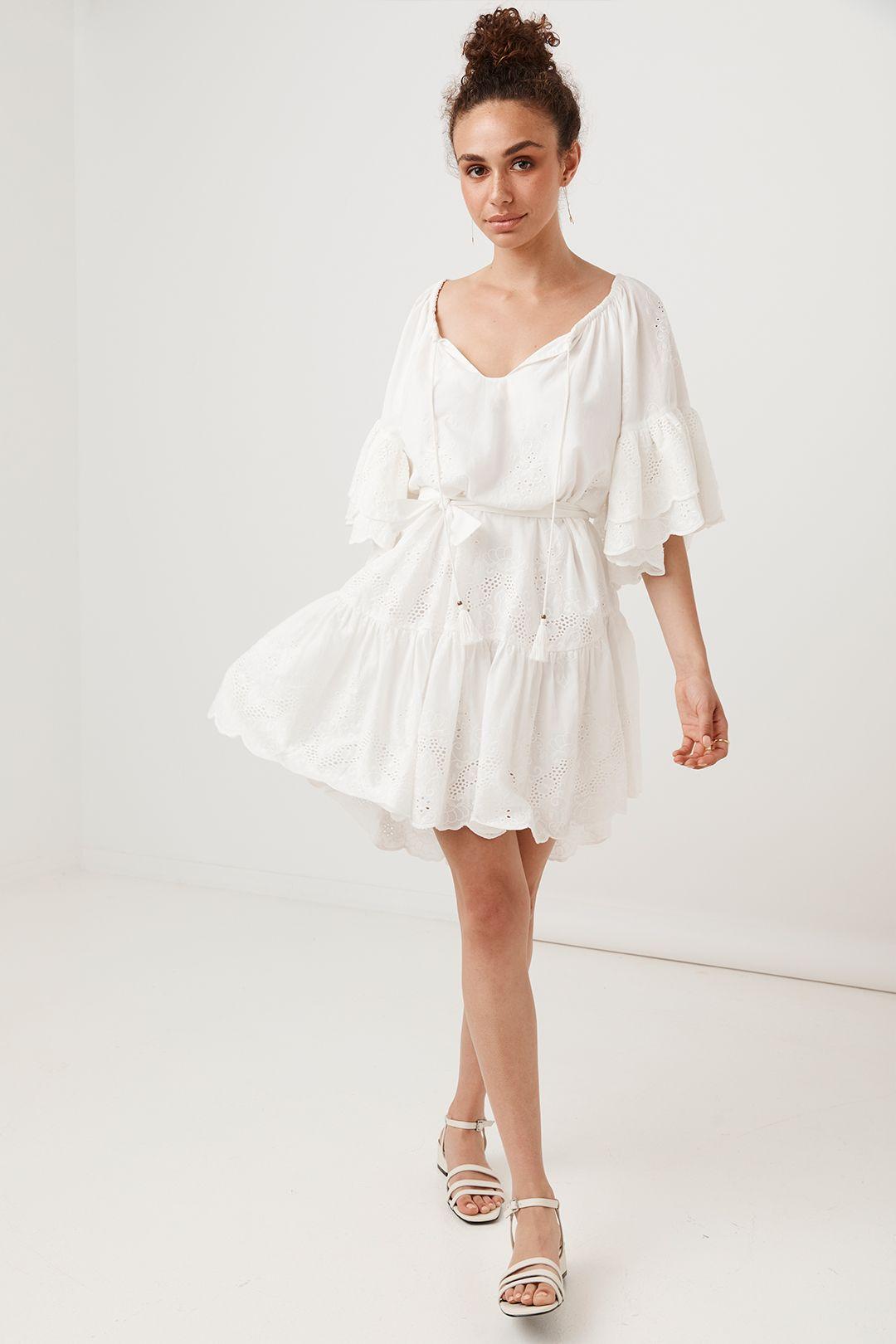 Spell Capulet Broderie Anglaise Frill Smock Dress White Full Skirt