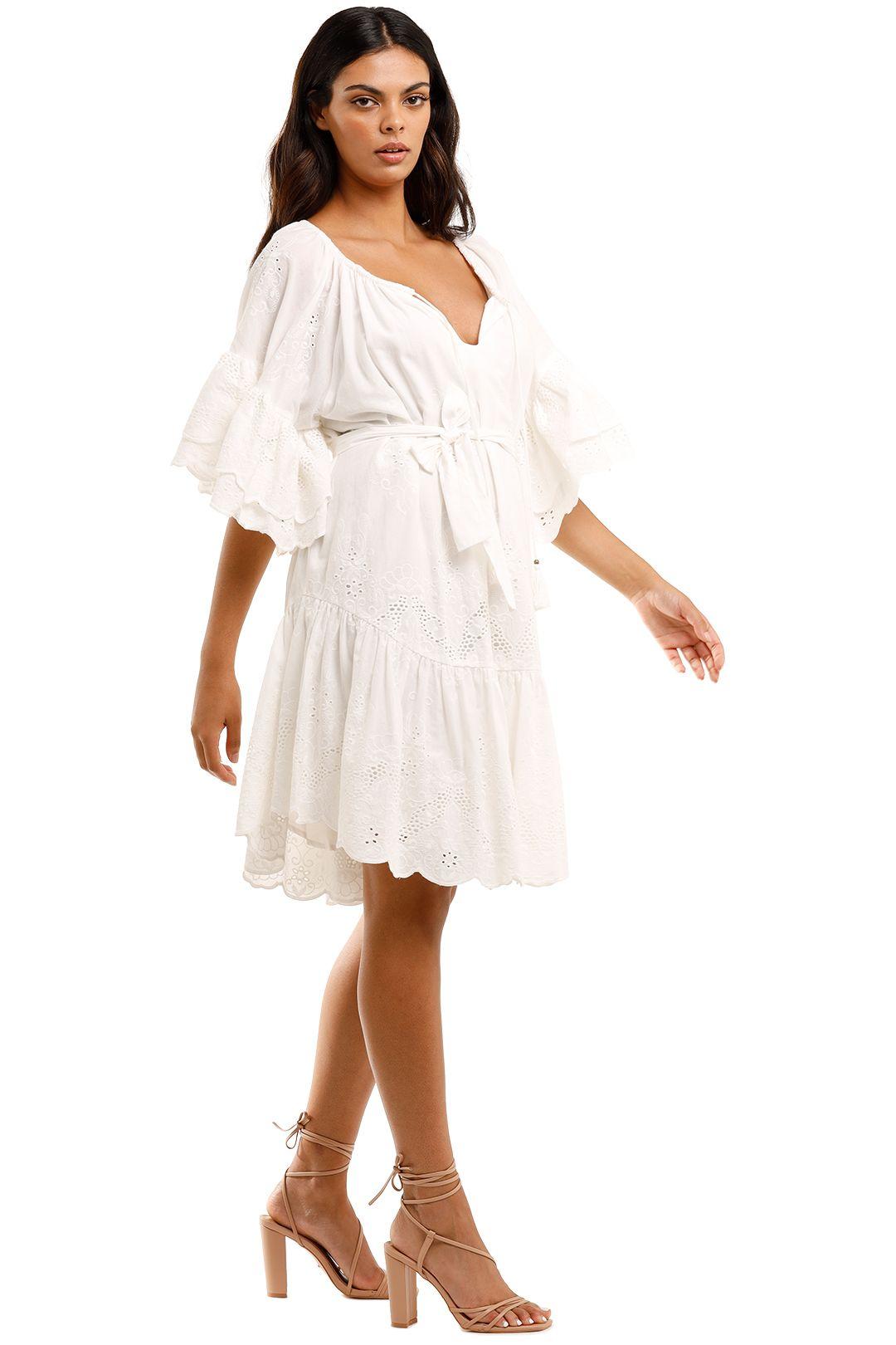 Spell Capulet Broderie Anglaise Frill Smock White Plunge Neckline Beach Dress