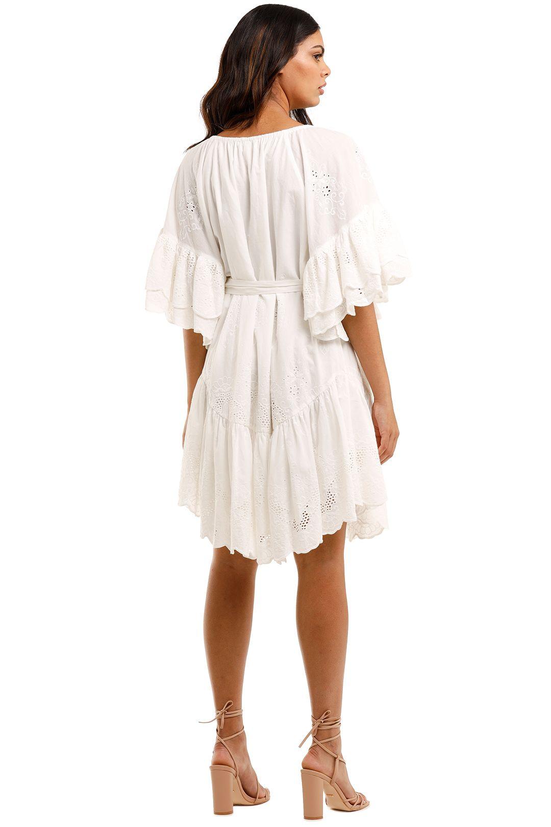 Spell Capulet Broderie Anglaise Frill Smock Dress White Mini Length