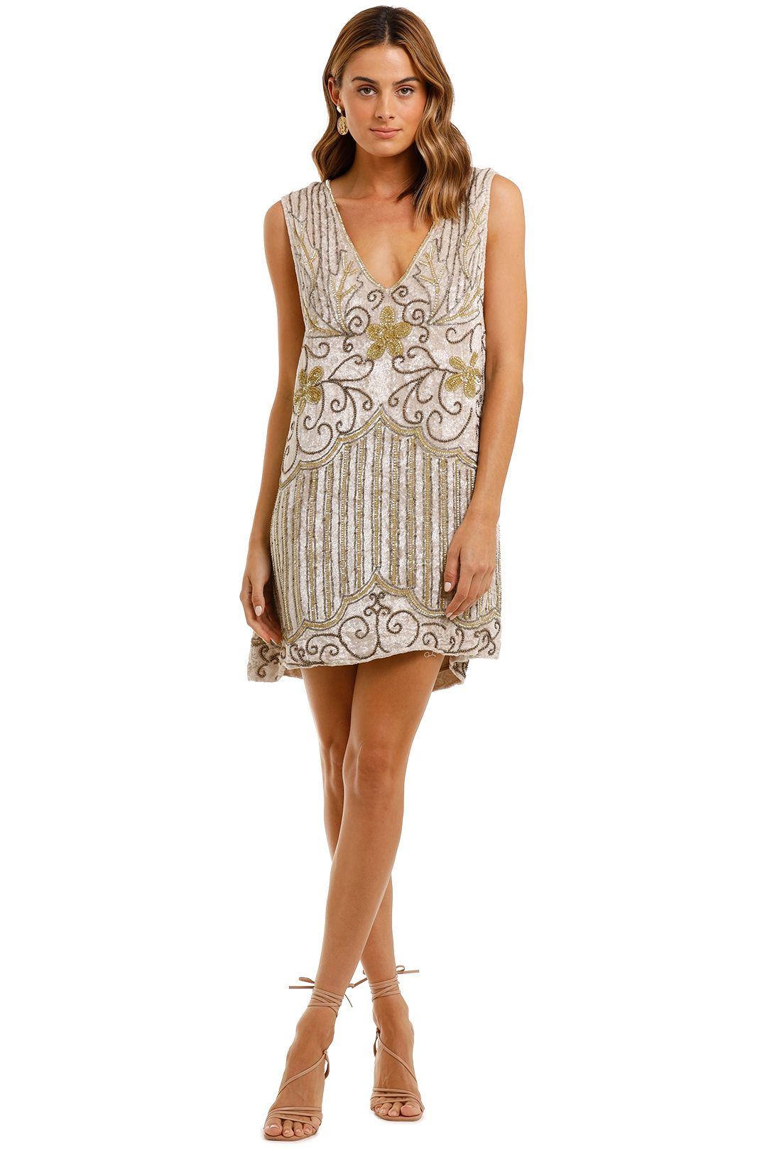Spell Elsa Sequin Dress Eggnog