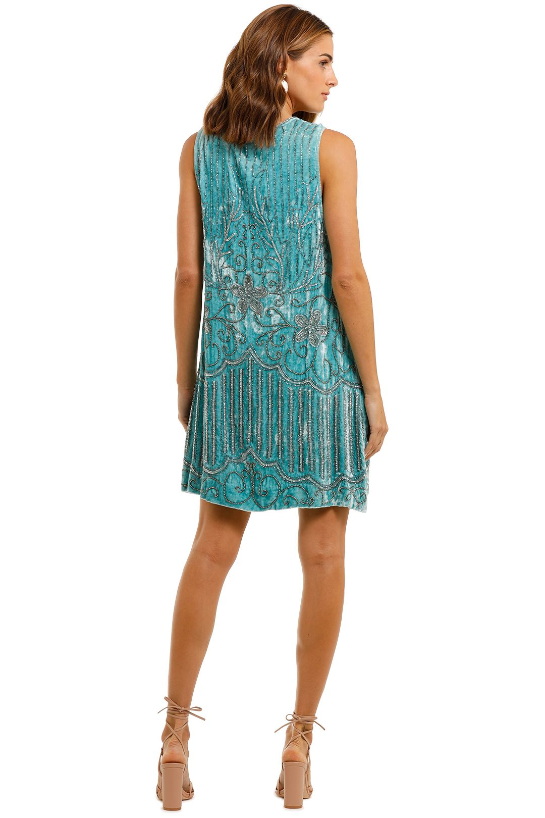 Spell Elsa Sequin Dress Opal mini blue