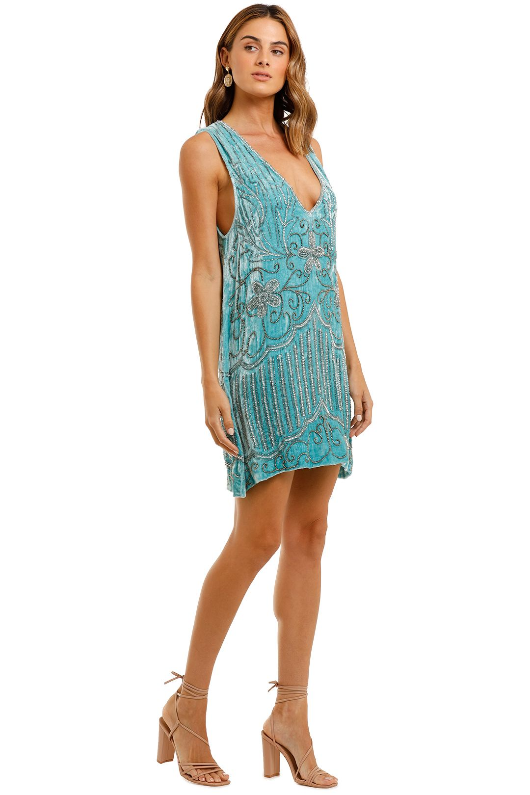 Spell Elsa Sequin Dress Opal velvet