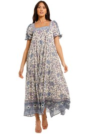 Spell Folk Song Square Neck Gown Sky