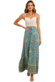 Spell Folk Town Button Down Skirt Turquoise