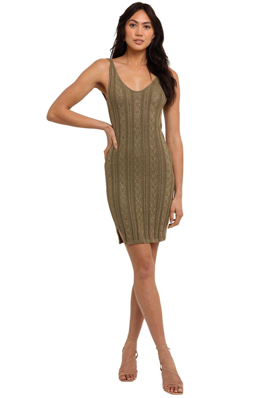 Spell Frenchie Rib Mini Dress Khaki