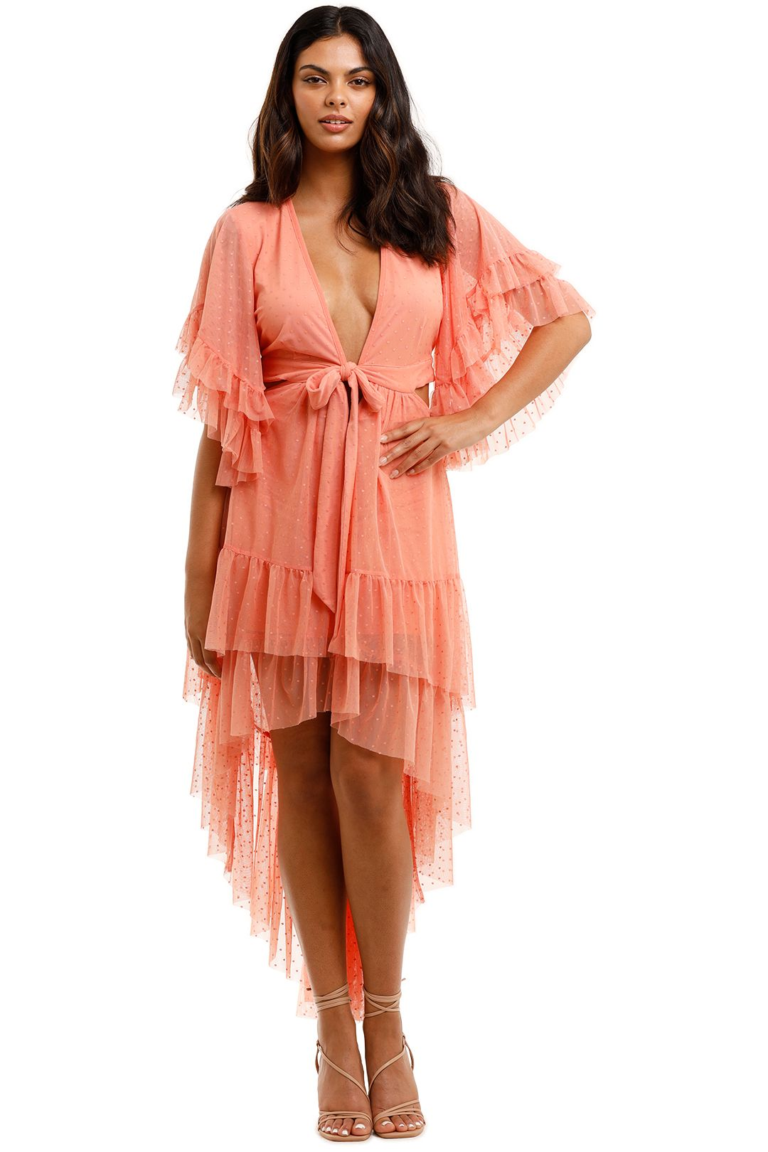 Spell Grace Cutout Gown Peach Cut Out on Waist