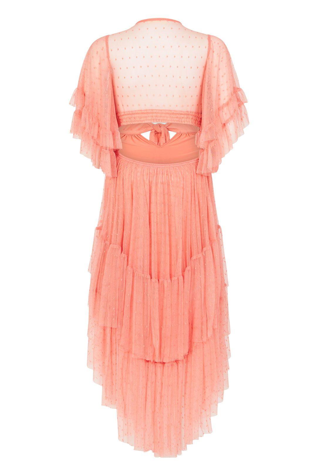 Spell Grace Cutout Gown Peach Full Skirt