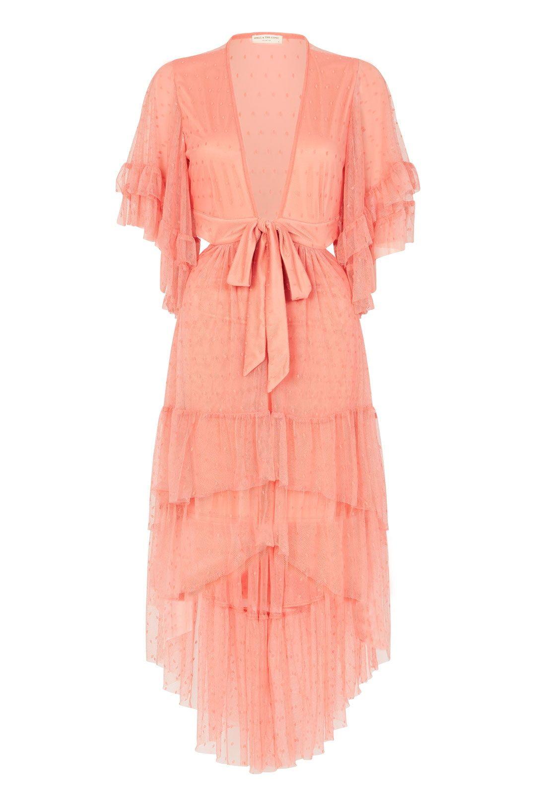 Spell Grace Cutout Gown Peach Ruffles