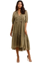 Spell Honey Smock Dress Olive