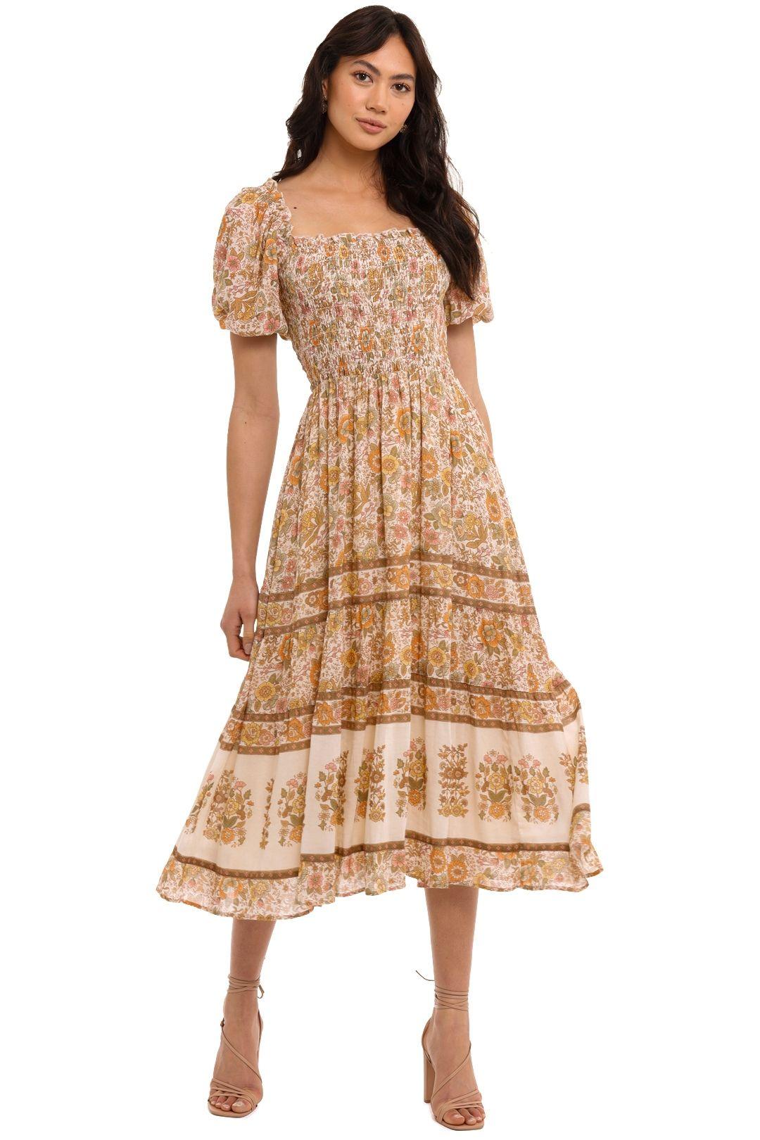 Spell Juniper Shirred Dress Cream