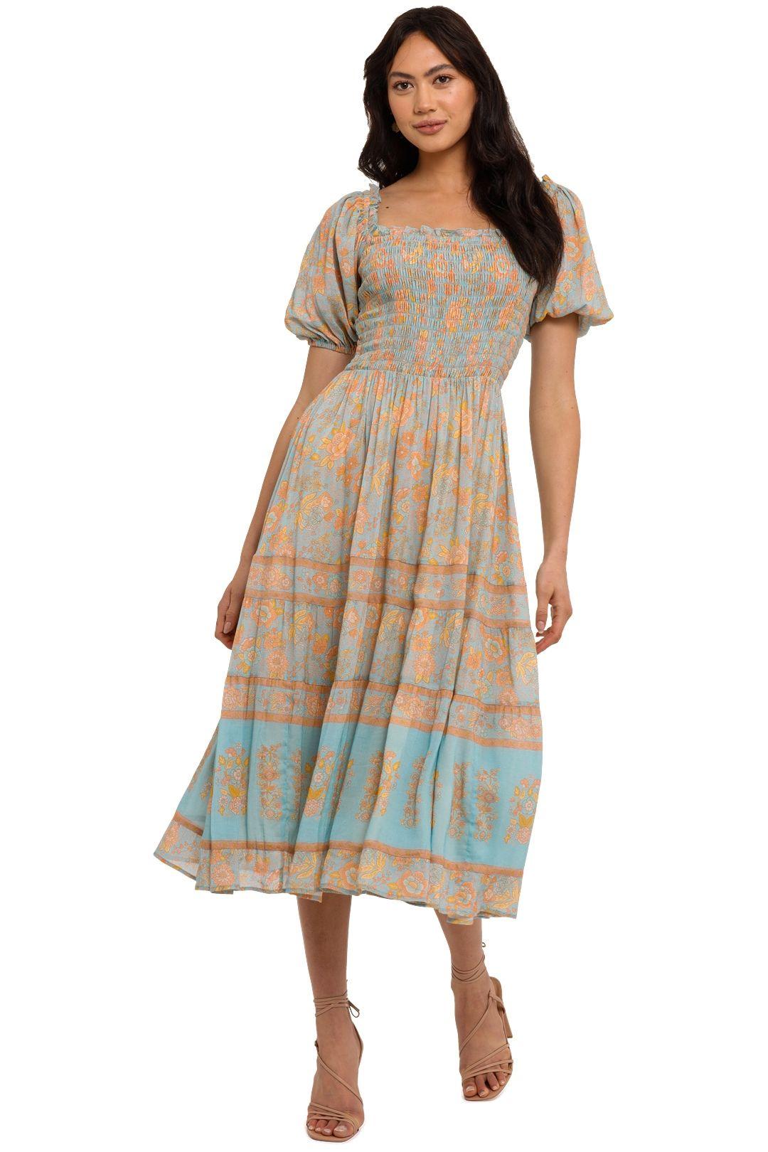 Spell Juniper Shirred Dress Eggshell Blue