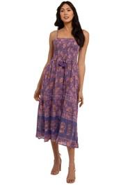 Spell Juniper Shirred Strappy Dress Violet