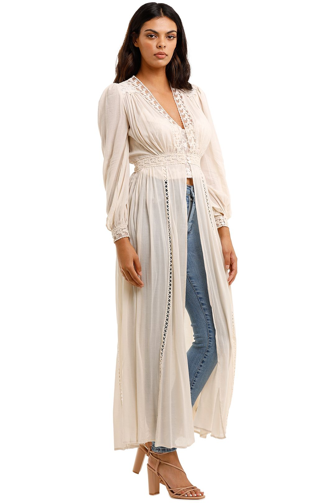 Spell Le Gauze Lace Duster Off White