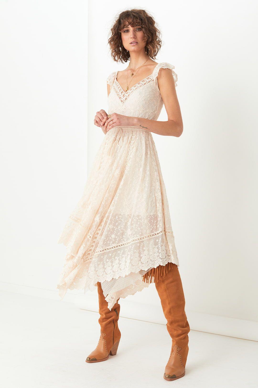 Spell Le Gauze Lace Kerchief Dress Full Skirt