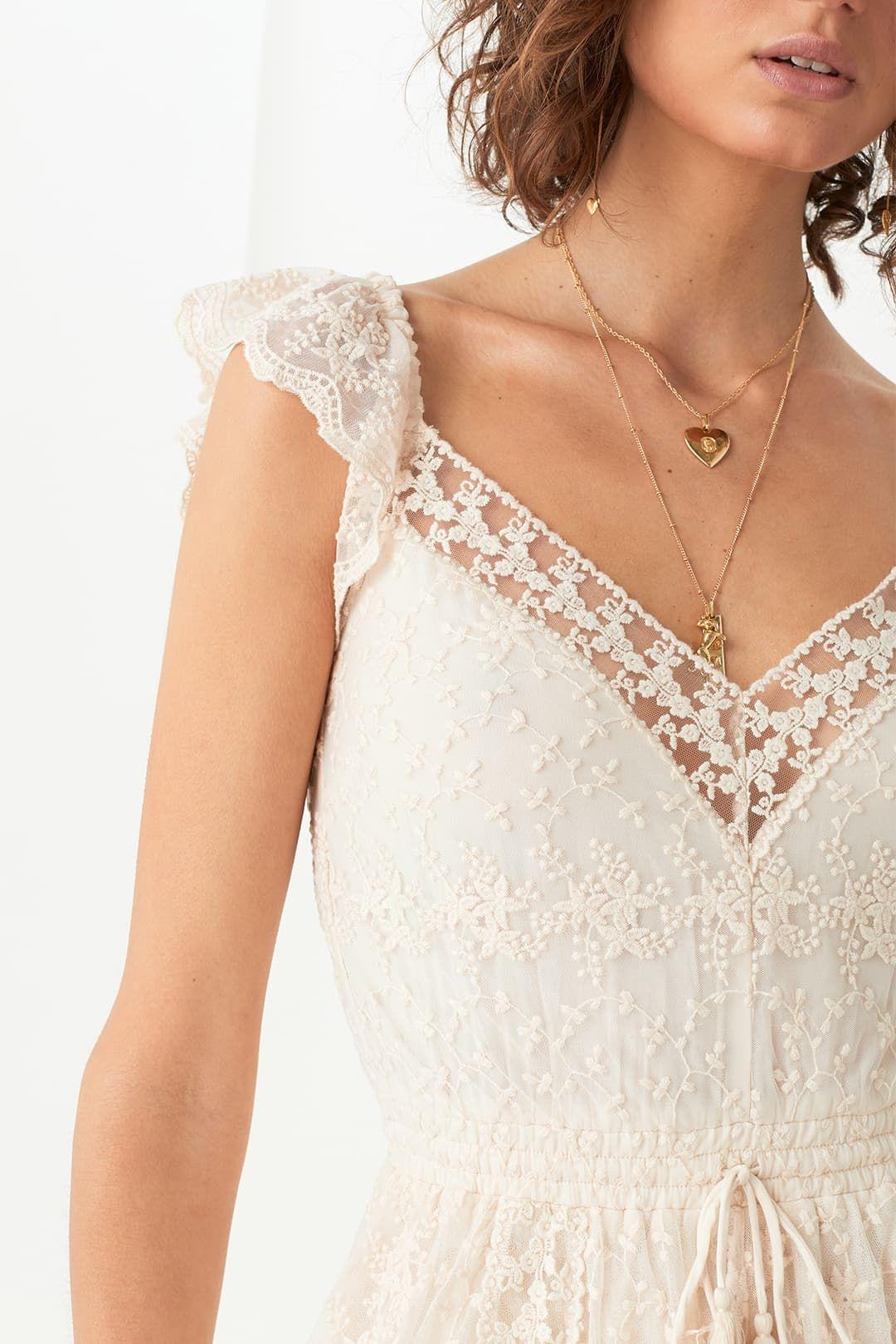 Spell Le Gauze Lace Kerchief Dress Lace Neckline
