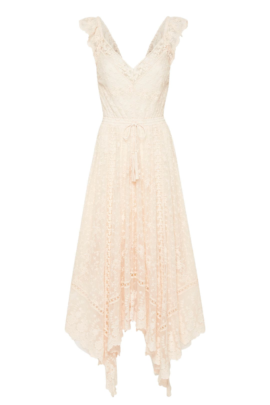 Spell Le Gauze Lace Kerchief Dress Midi Length