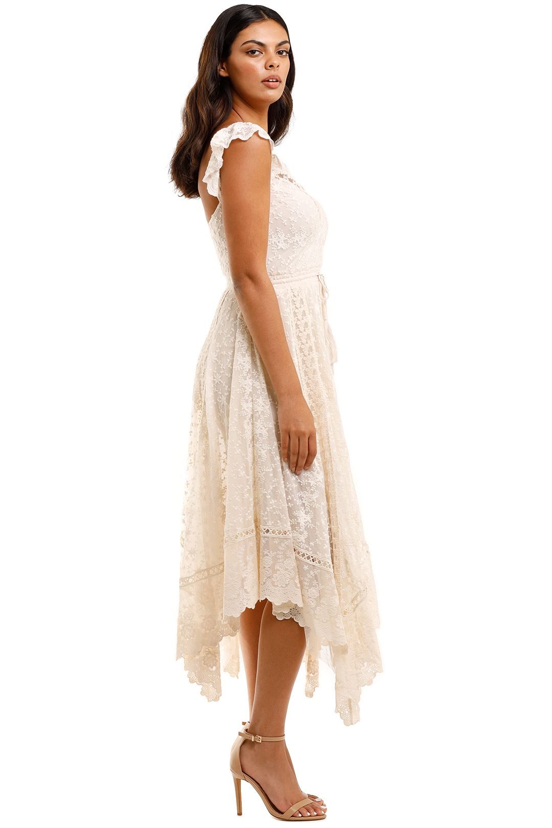 Spell Le Gauze Lace Kerchief Dress Off White