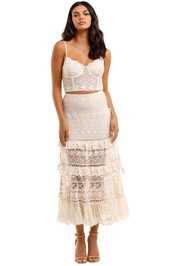 Spell Le Gauze Lace Tiered Skirt and Bustier Set