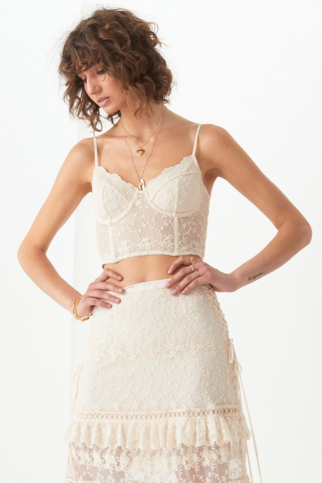 Spell Le Gauze Lace Tiered Skirt and Bustier Set Fitted