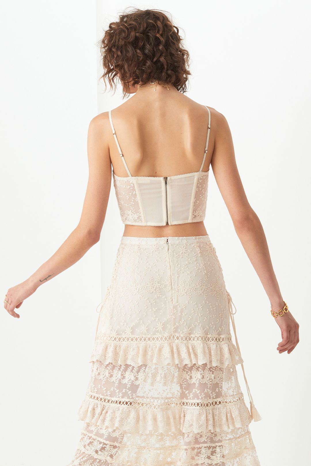 Spell Le Gauze Lace Tiered Skirt and Bustier Set High Waisted