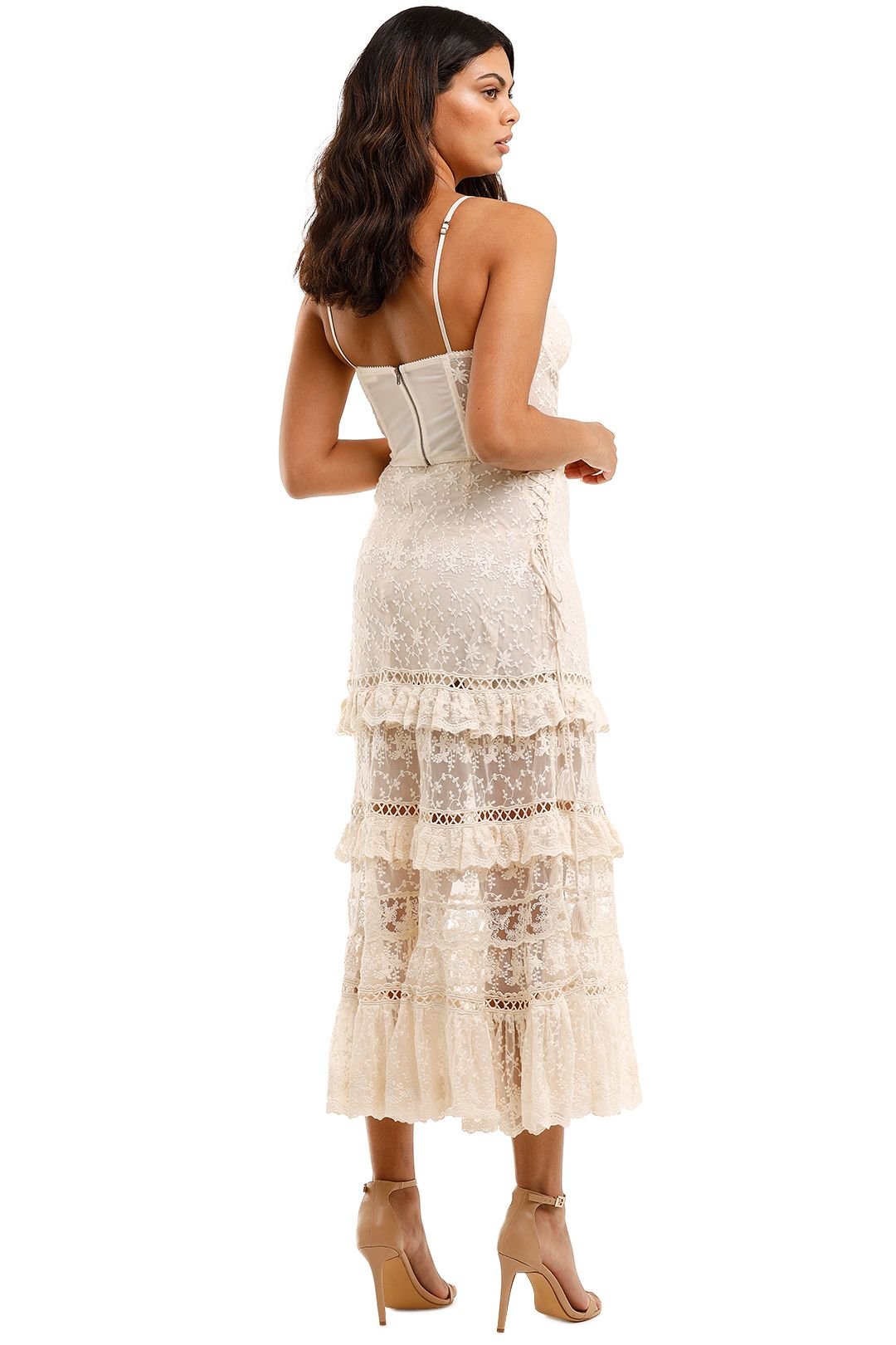 Spell Le Gauze Lace Tiered Skirt and Bustier Set Lace