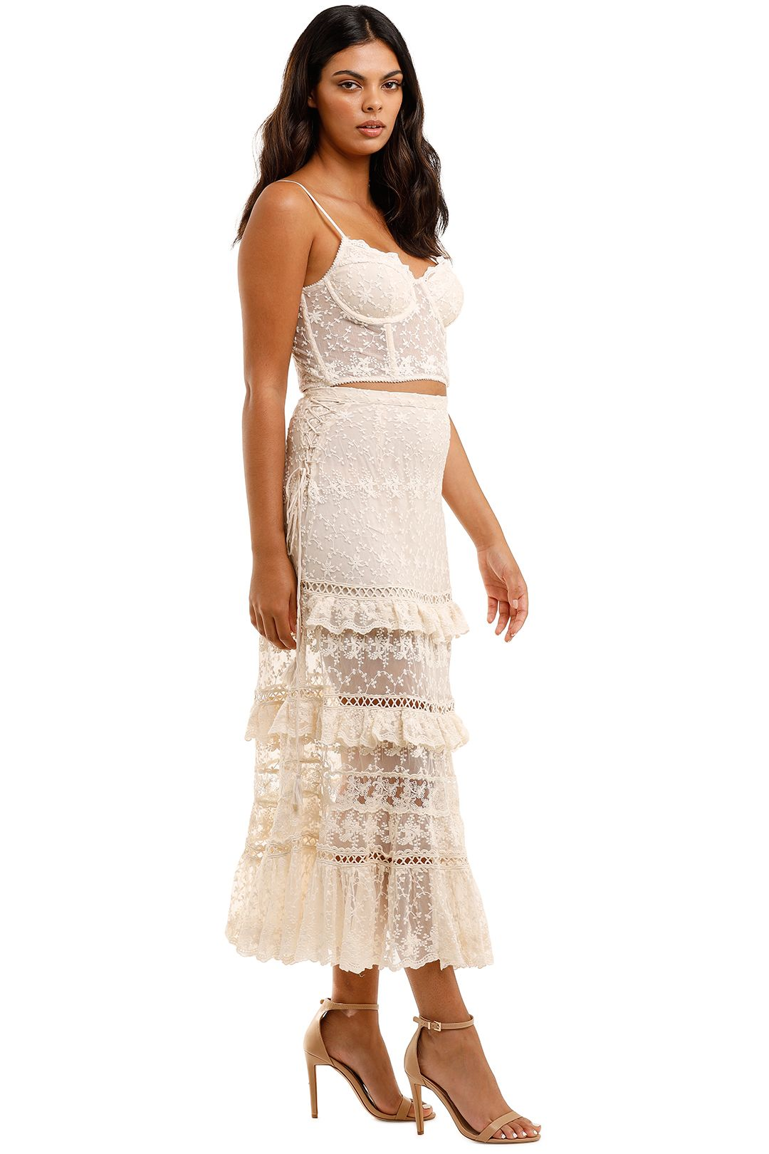 Spell Le Gauze Lace Tiered Skirt and Bustier Set Off White