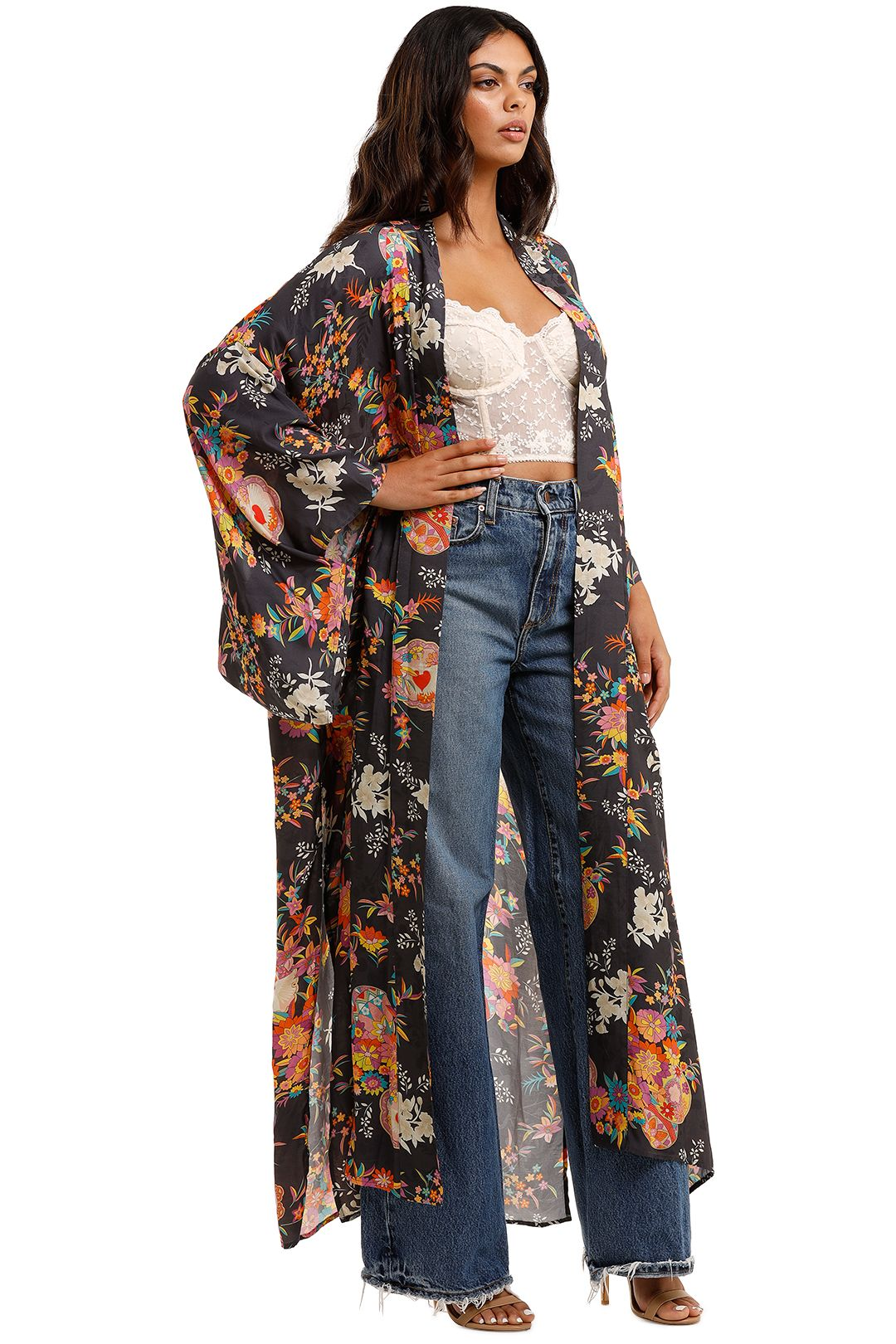 Spell Leo Maxi Robe Charcoal Floral