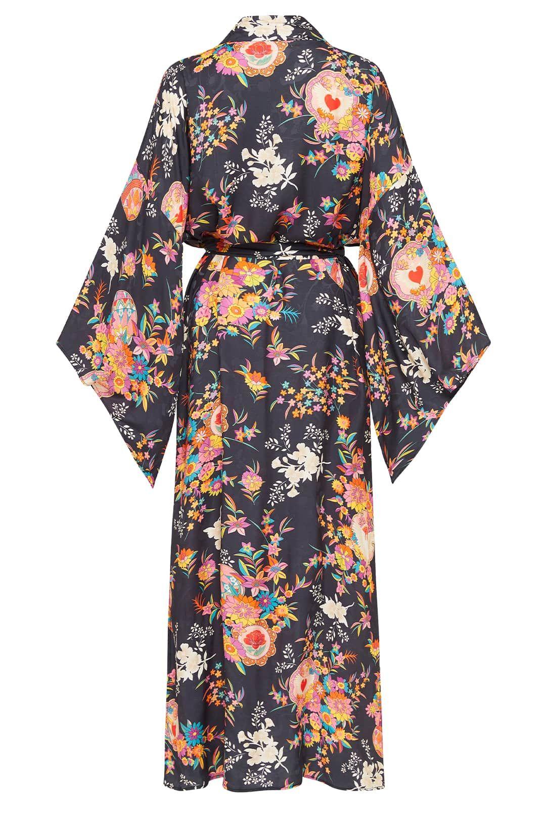 Spell Leo Maxi Robe Charcoal Kimono Sleeves